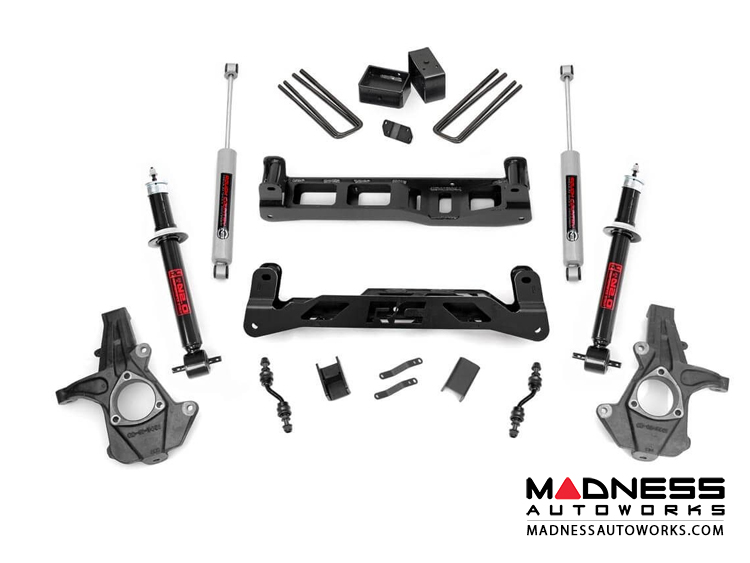 "Chevy Silverado 1500 2WD Suspension Lift Kit w/ N3 Shocks & Lifted Struts - 5"" Lift - Aluminum Stamped Steel"